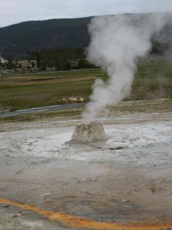 The beehive geyser is very unpredictable and may erupt at any time. I understand.